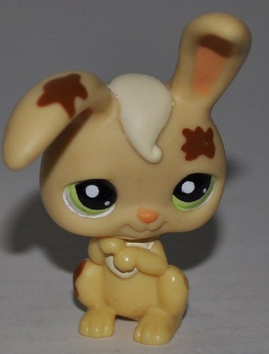 Rabbit #972 (Brown, Tan Hair, Green Eyes, Mud spots) - Littlest Pet Shop (Retired) Collector Toy - LPS Collectible Replacement Single Figure - Loose (OOP Out of Package & Print)