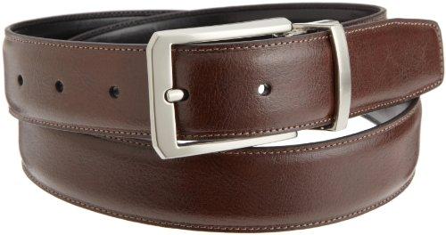 Perry Ellis Mens Square Hale Belt, Brown/Black, 34 SP