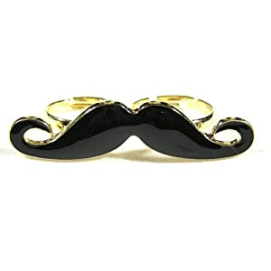 SODIAL- Handlebar Mustache Vintage Adjustable Double Ring
