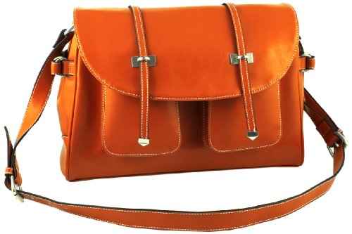 Giorry Yippydada Paris Real Leather Baby Diaper Bag, Orange