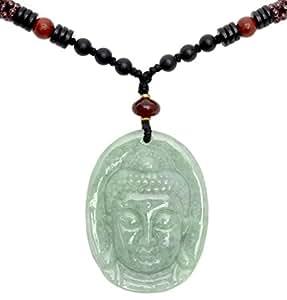 gautama mercy lotus buddha head jade amulet necklace