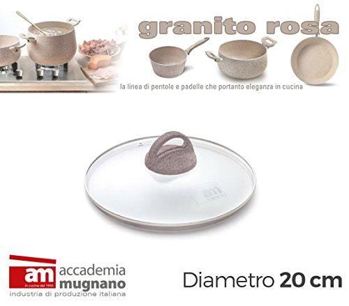 Coperchio vetro 20cm manico antiscivolo Natural Stone effetto pietra Accademia Mugnano Granito Rosa. MWS