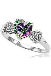 Tommaso Design Rainbow Mystic Topaz Heart Shape Engagement Promise Ring