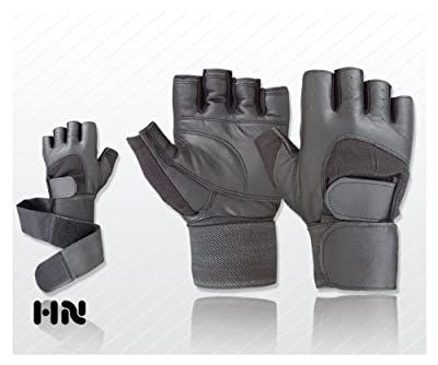 Leather Pro Lift Padded Weight lifting body building gloves (078) Gym Long Straps Bar Leather Power Grip by Kango Fitness