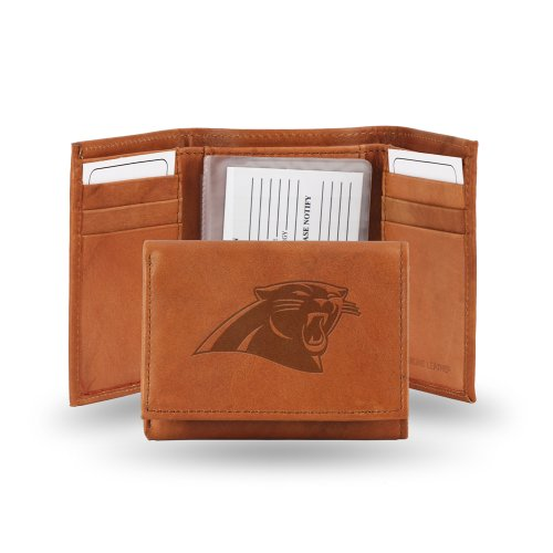 NFL Carolina Panthers Embossed Genuine Cowhide Leather Trifold Leather Wallet