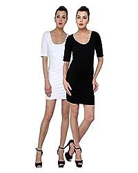 Finesse Women's Bodycon Dress Combo (White/ Black, XXXL)