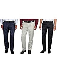 Routeen Men's Straight Slim Fit Trousers - Beige, Black, Blue (Combo Pack Of 3)