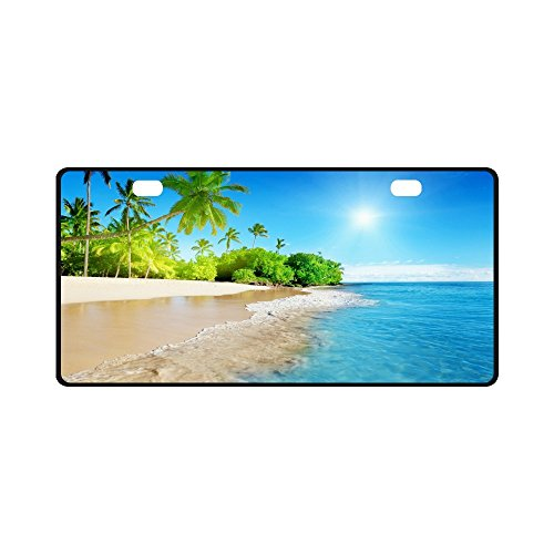 Scenic Beach Ocean Sand Tropical Palm Trees Strong And Durable Aluminum Car Metal License Plate Frame for Women/Men Two Holes Tag 11.8