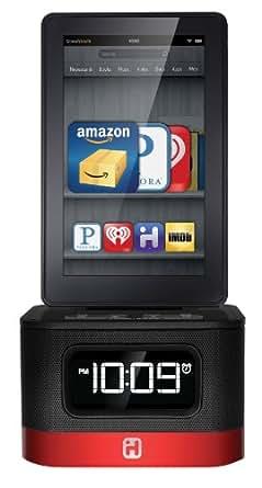 iHome iK50B SMARTDESIGN Space Saver FM Stereo Alarm Clock/Charger for Kindle Fire, Black