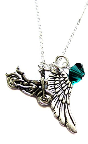 Motorcycle Angel Wing Charm Archangel Raphael Crystal Necklace 18