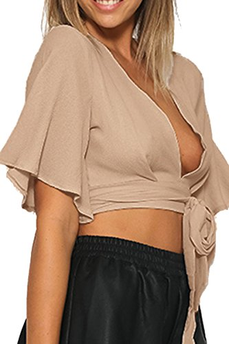 Simplee Apparel Women's Deep V Neck Flare Sleeve Crop Top T Shirt Boho Top Nude