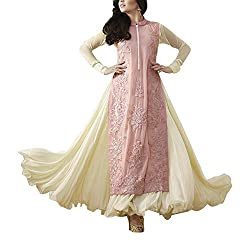 Destiny Enterprise Embroidered Gorgette Beige Color Party Wear Stitched Salwar Suit for Women
