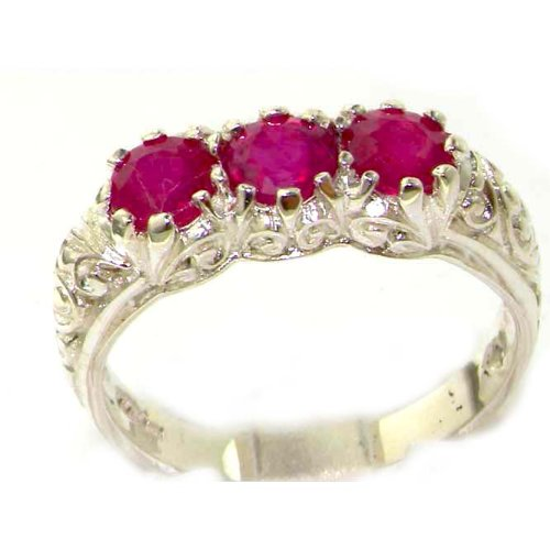 Luxury Solid Sterling Silver Natural Ruby Art Nouveau Carved Trilogy Ring - Size 12 - Finger Sizes 5 to 12 Available - Suitable as an Anniversary ring, Engagement ring, Eternity ring, or Promise ring