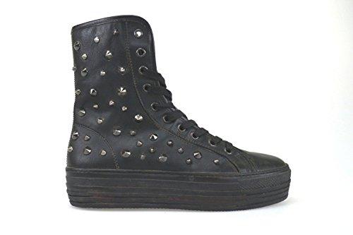 scarpe donna CULT sneakers alti stivaletti nero pelle borchie AK794 (38 EU)
