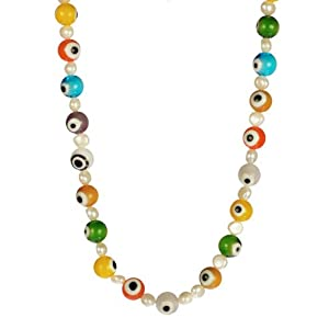 Multi-Colored Glass Evil Eye and White Freshwater Pearl Necklace