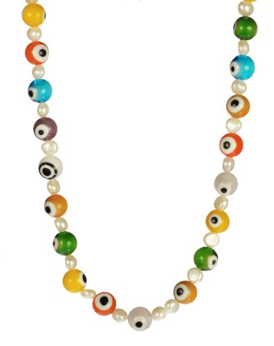 Multi-Colored Glass Evil Eye and White Freshwater Cultured Pearl Necklace 16