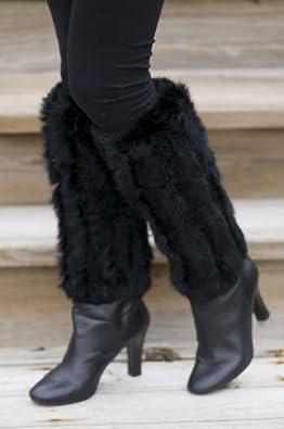 Women's Rabbit Fur Boot Toppers, BLACK, Size 1 SZ
