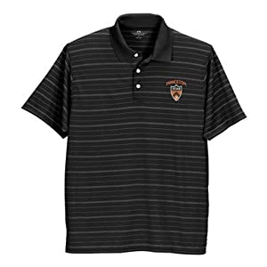 Nebraska Cornhuskers Textured Striped Performance Polo Black by Vantage