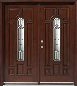 solid wood mahogany front double door unit pre hung finished dmh7525