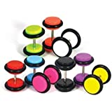 14 Pieces Fake Gauges Kit Fake Plugs 0G-8G Gauges Look (7 Pairs)