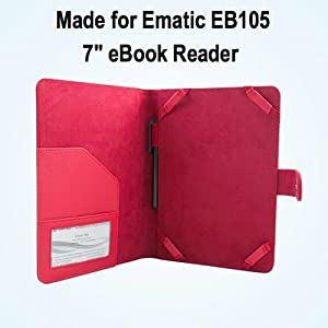 "Ematic EB105 7"" eReader Case / Cover - Red - SRX Executive by Kiwi Cases"