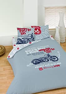 route 66 us parure housse de couette 200x200 2 taie d 39 oreiller 63x63 cuisine maison. Black Bedroom Furniture Sets. Home Design Ideas