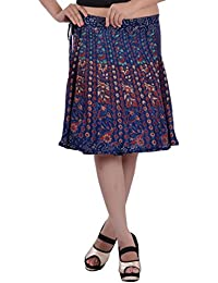 Wrap Around Skirt Knee Length Rayon Rajasthani Mandala Hand Block Printed By Indi Bargain