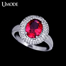 buy Salinla Jewelry White Gold Plated Ring With 1Cm * 0.8Cm Red Rare Earth Stone Vintage Big Stone Ring Ur0029
