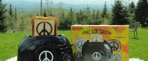 Classic 1960's Peace Sign Toaster - Make Toast, Not War! (Burnt Toaster compare prices)