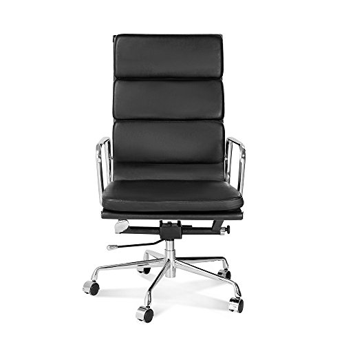 Artis Decor Soft Pad Low and High Back Executive Office Chair Made with Upholstered Genuine Italian Leather, Swivel and Polished Aluminium Frame - High Back Black (Traditional Wingback Side Chair compare prices)