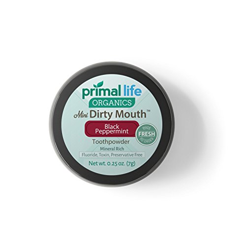 Dirty Mouth Organic Toothpowder MINI BEST All Natural Dental Cleanser - Gently Polishes, Detoxifies, Re-Mineralizes and Strengthens Teeth - (Black Peppermint, 0.25 Ounces) ... (Organic Baking Soda Powder compare prices)