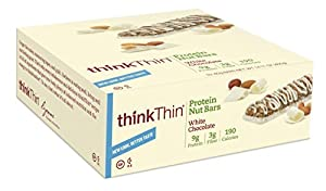 thinkThin Protein Nut Bar, White Chocolate, 1.41-Ounce Bars (pack of 10)