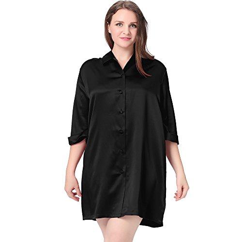 LilySilk Seide Nachthemd Nachtshirt Sexy in Großen Größen 22 Momme Schwarz 3X