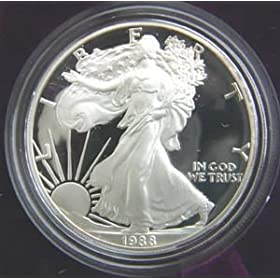 1988 AMERICAN SILVER EAGLE PROOF $1 DOLLAR COIN W/BOX