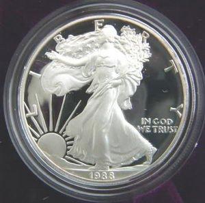 1988 AMERICAN SILVER EAGLE PROOF $1 DOLLAR COIN W/BOX