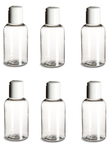 TronStore 2oz Travel Size PET Boston Round Plastic Empty Bottles/Containers With Disc Cap - Set of 6 - 2 Ounce