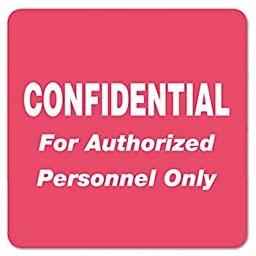 Medical Labels for Confidential, 2 x 2, Red, 500/Roll
