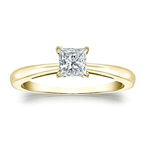 Jewel Oak 1/2 ct. tw. Princess-cut Diamond Solitaire Ring in 14k Yellow Gold (G-H, VS2-SI1), Size 4
