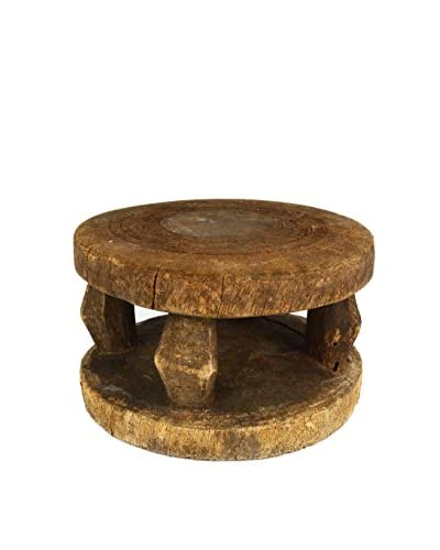 Uptown Down Found Carved Pillar-Style Wood Stand