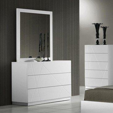 J&M Furniture Naples Dresser W/ Mirror In White Lacquer