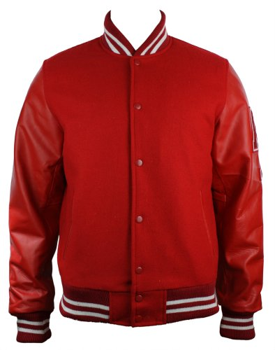 Mens Red College Baseball Real Leather Arms Bomber Jacket Varsity AX logo