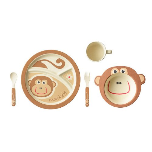 EcoBamboo Ware Kids Dinnerware Set, Monkey, 5 Piece