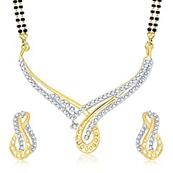 Sukkhi Fabulous Gold And Rhodium Plated Cubic Zirconia Stone Studded Mangalsutra Set for Women