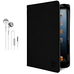 Vangoddy Leatherette Black Tablet Case + White Hands-Free Headphones W/ Remote & Mic