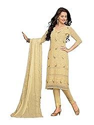 Isha Enterprise Women's Chiffon Dress Material(KFD210-1595_Cream)