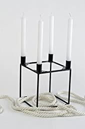 Handmade Candlestick For 4 Candles Metal Frame In The Form Of A Black Cube