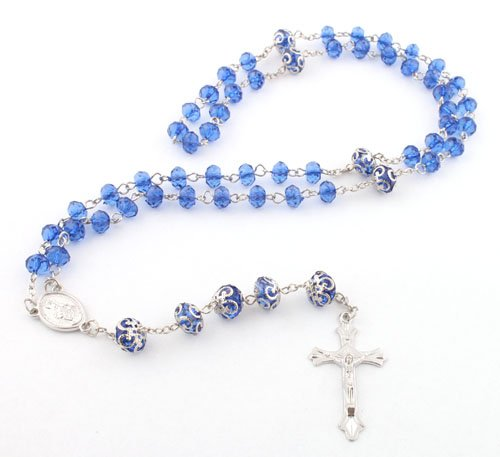 Blue with Silver Mother Mary Jesus Rosary Cross Pendant & Ornament Style Beads with a 36 Inch Beaded Chain Necklace