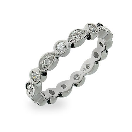 CZ Sway Stackable Eternity Ring Size 8 (Sizes 5 6 7 8 9 Available)