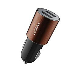 ROCK MOTOR CAR CHARGER 2.1A DUAL-USB ADAPTER FOR IPHONE, IPOD IPAD,SAMSUNG,HTC ,LG, SONY ETC - BLACK BRONZ