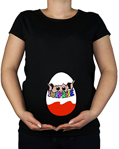 Maternity Pregnancy size 10 - 20 Baby Surprise Cotton Print Top Tunic T-Shirt (Medium, Black)